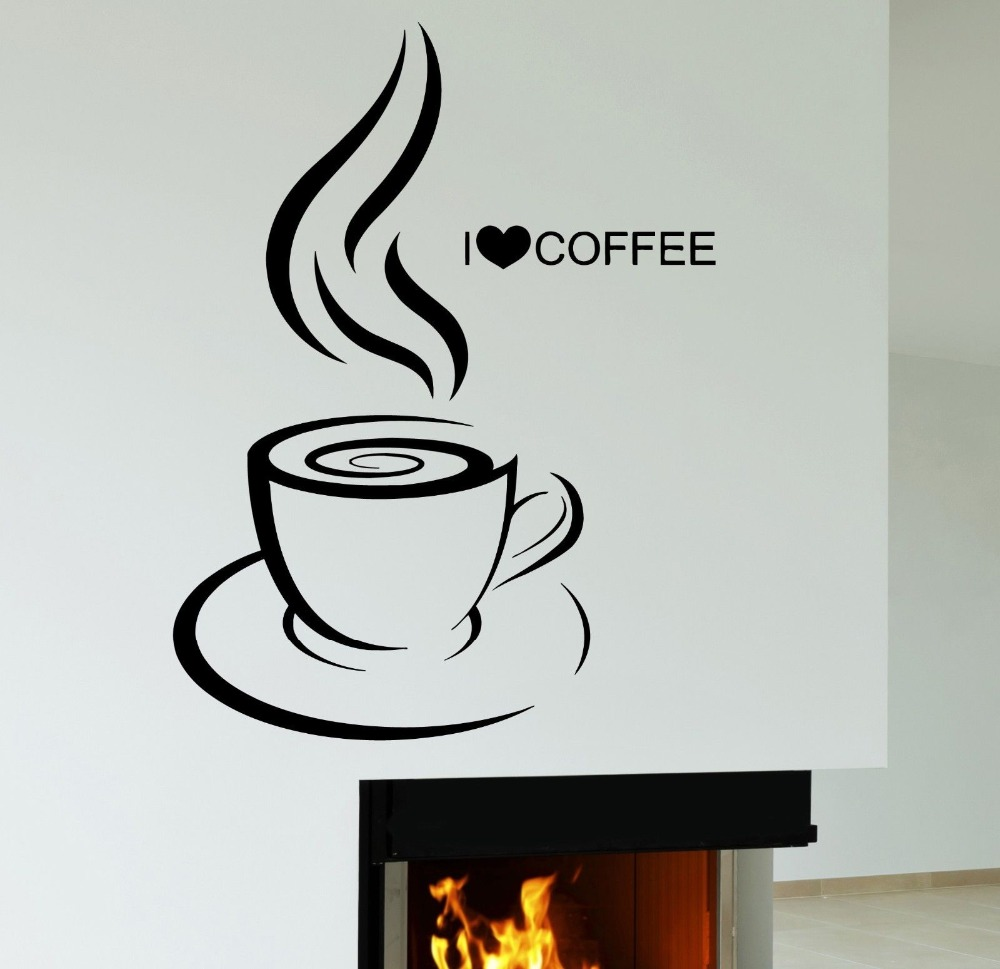 I drink coffee removable vinyl stickers kitchen wall art decals home decoration simple mural dress F-127