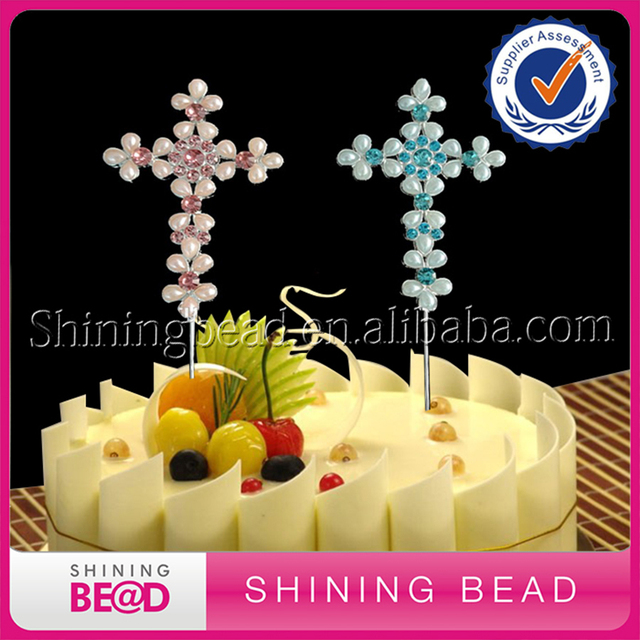 20pcs/lot+New Arrival Pearl and Crystal Rhinestone Cross Cake Topper ...