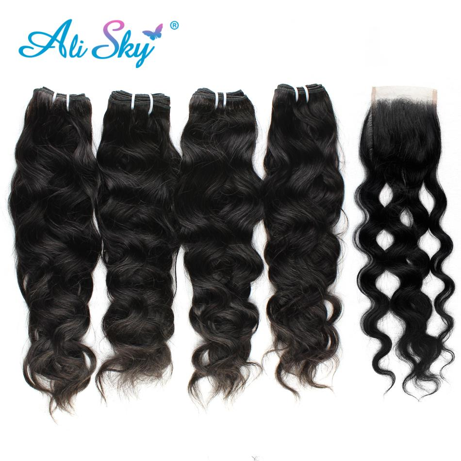Alisky Hair Natural Wave Peruvian 4 Bundles With 4x4 Lace Closure 100% Human Hair No Tangle No Shedding Remy Can Be Dyed