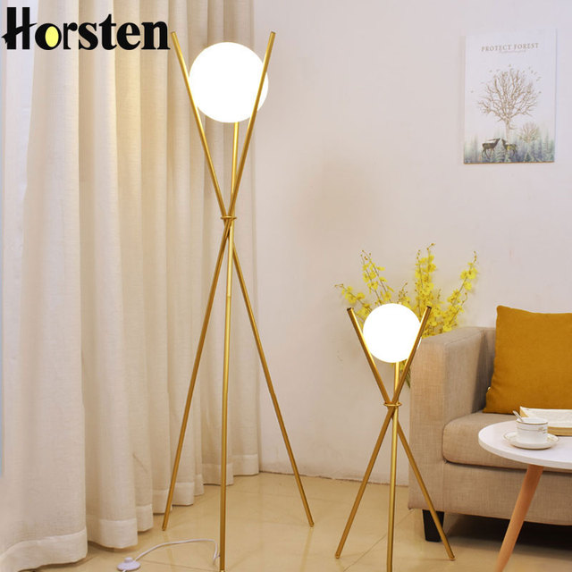 Modern Nordic Glass Ball Floor Lamp Minimalist Tripod Standing Lamps ...