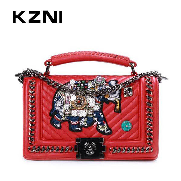 KZNI Real Leather Top-handle Bags with Chain Rivet Crossbody Bag for Girls Luxury Handbags Women Bags Designer Sac a Main 7031-1 kzni genuine leather top handle bags rivet crossbody bag with chain women leather handbags sac a main pochette sac fem 1427 1428