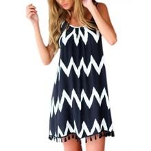 Yaz Seksi Hanım Dalga Gevşek Şifon Elbise Dalgalı Stripes Plaj Mini Elbise Y8664