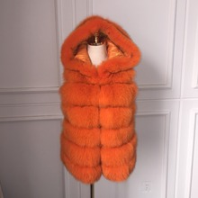 2016 The new high-quality long fox fur hooded vest female autumn and winter luxury fur coat fall and winter new ex-factory price