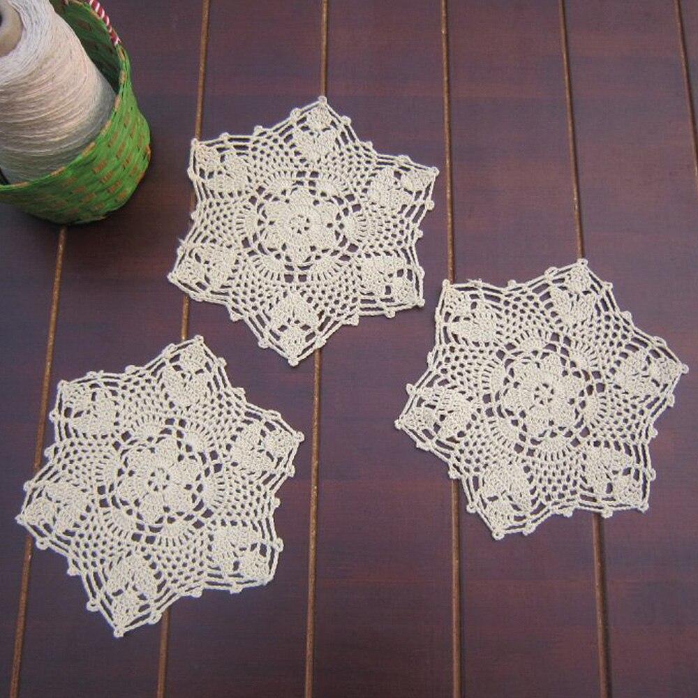 Handmade table mats design - Yazi 4pcs Coasters Handmade Cotton Hollow Floral Doily Cup Pads Vintage Hand Crochet Table Mat Doilies Crochet Placemat
