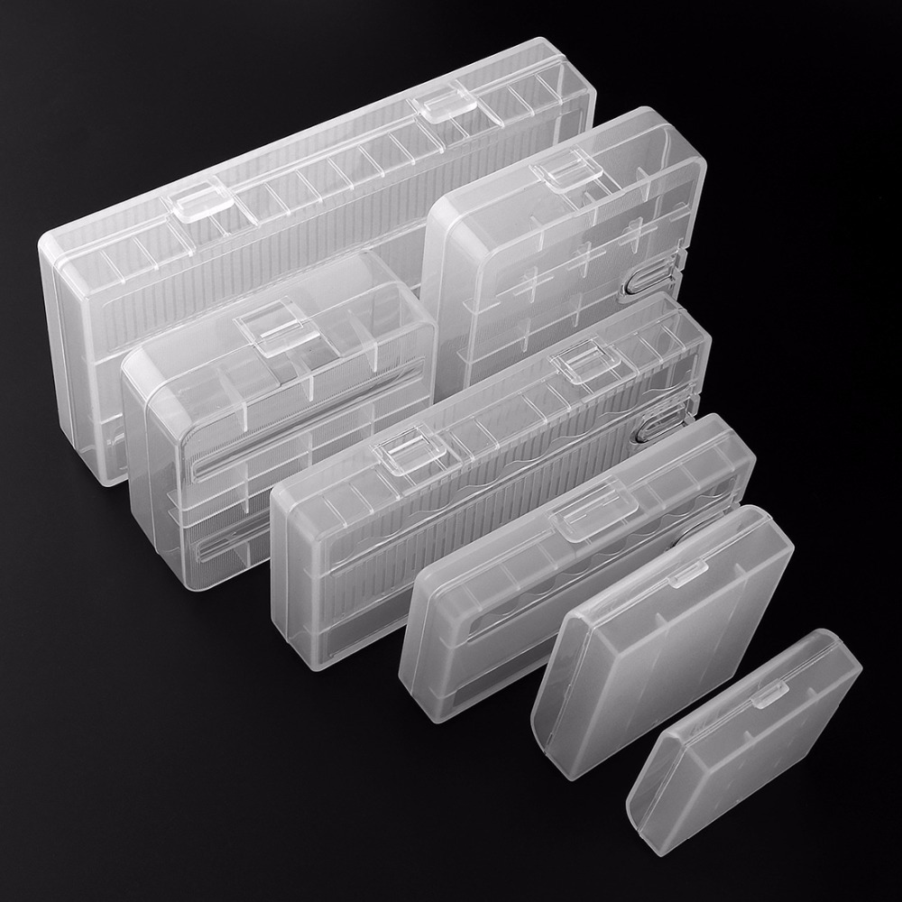 Soshine PVC Material 7 Different Transparent Hard Plastic Battery Storage Boxes with A Hook for 18650 26650 AA AAA Battery convenient storage organizer carrier nylon bag for 18650 26650 battery black