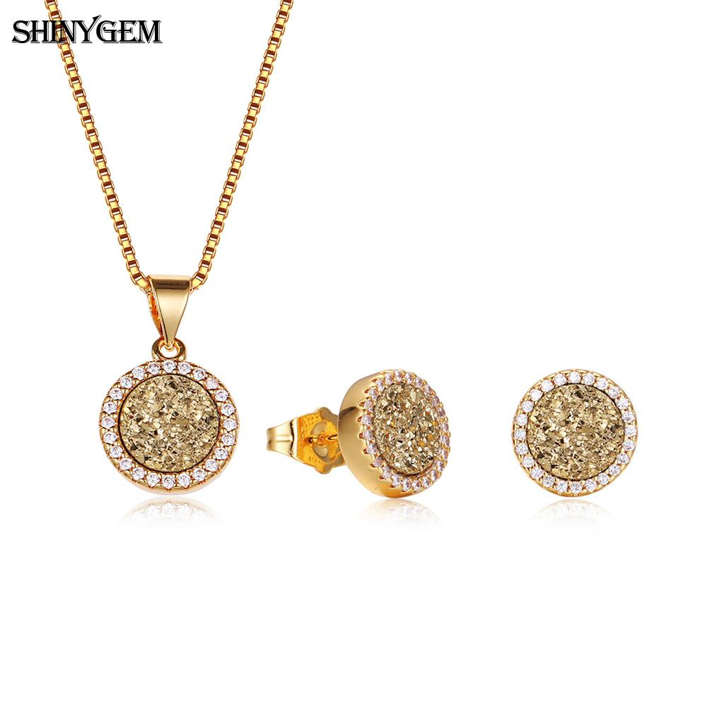 ShinyGem Bright Natural Crystal Gem Stone Jewelry Set Gold Round Glittering Druzy Earrings Necklace Party Jewelry Sets