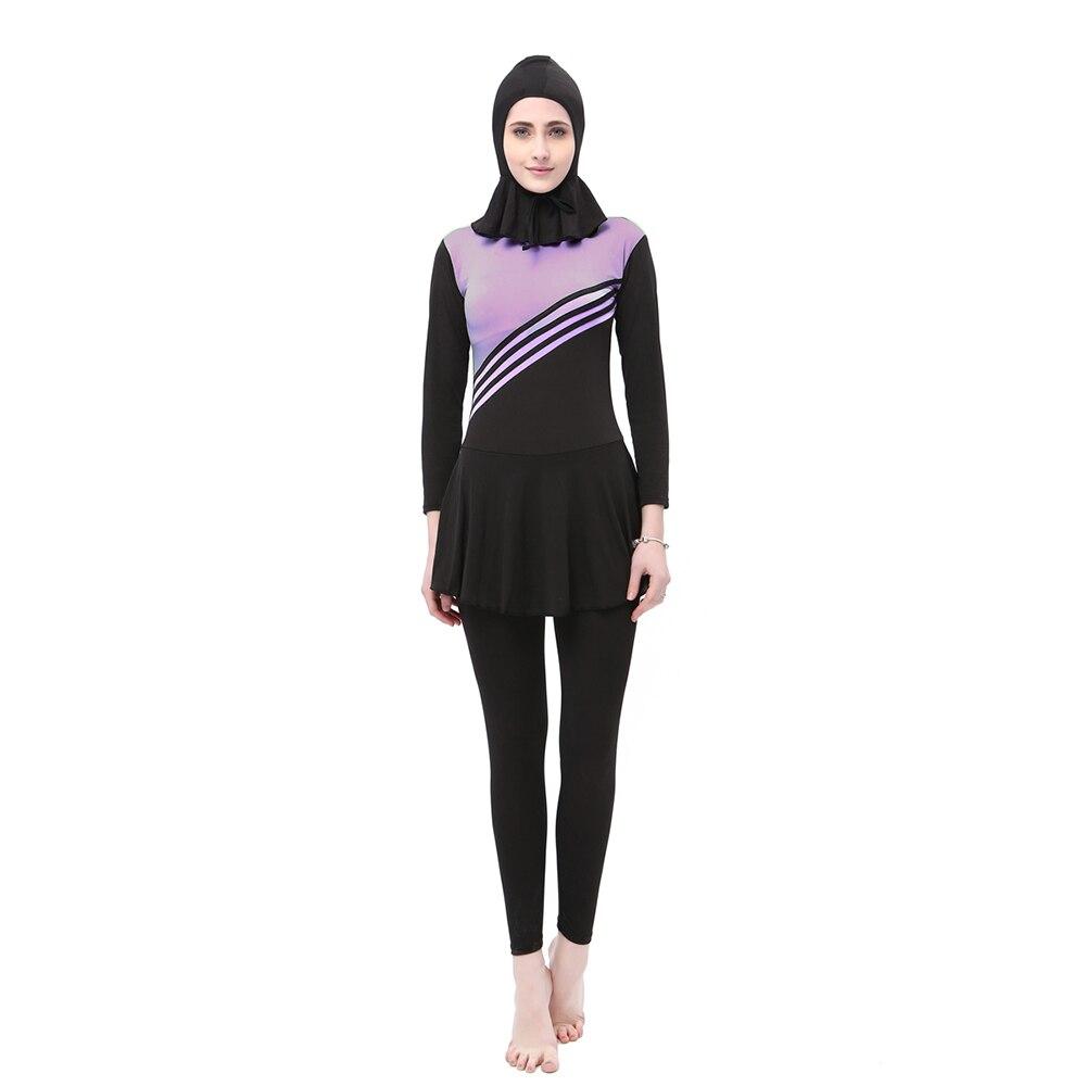 Muslim Swimwear Women Full Cover Long Sleeve Ladies Islamic Swimsuits One Piece With Cap Modest Hijab Islam Burkinis Swim Suit