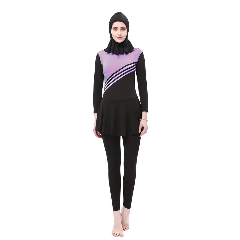 d519e85d15 Women Cover Long Sleeve Ladies Islamic Swimsuits Muslim Swimwear One Piece  with Cap
