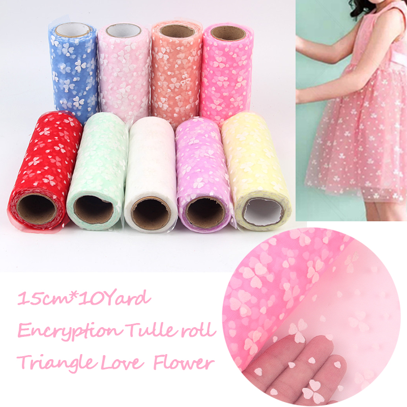 15cm*10yard Love Flower Colorful Tulle Spool Craft Organza DIY Runner Rolls Gauze for Wedding Party Christmas Decoration