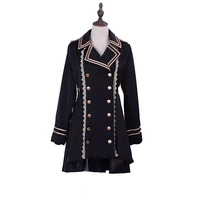 Women & Teen Girls Vintage Dovetail Jacket Coat Navy Sergeant Captain Costume Tailcoat Ouji Lolita Cosplay Overcoat For Laides