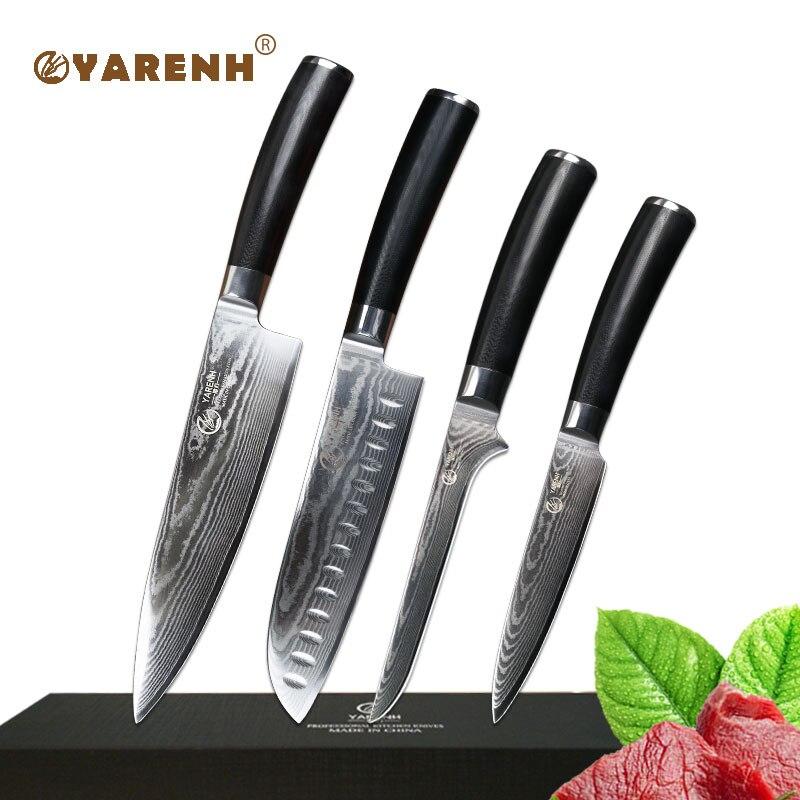 YARENH cucina set di coltelli in acciaio di damasco chef professionista set di coltelli da 4 pz Utilità coltello da cucina per sharp Disossamento