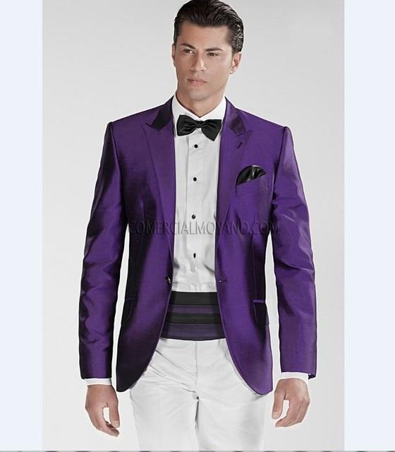 Purple Jacket White Pants) Groomsmen Peak Lapel Groom Tuxedos Men ...