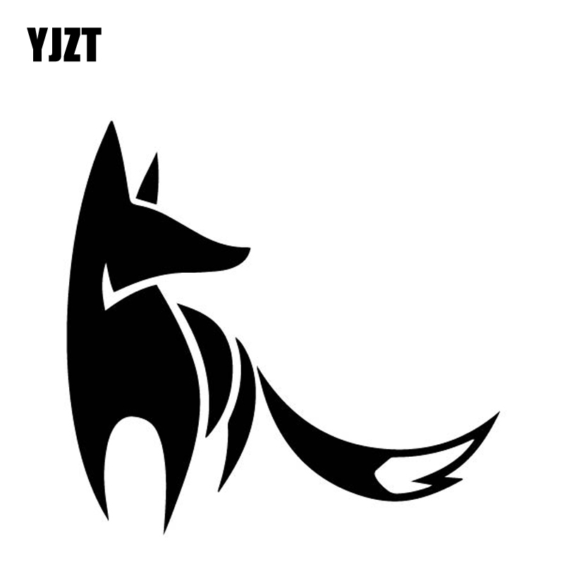 YJZT 15.6CM*15CM Cunning Fox Cartoon Car Sticker Car Trunk Decorate Vinyl Decal Black/Silver C4-1242