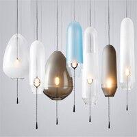 Amerikan cam küre kolye ışıkları demir çember kolye lambaları asılı lamba yatak odası Cafe Restaurant Bar iç mekan aydınlatması fikstür dekor