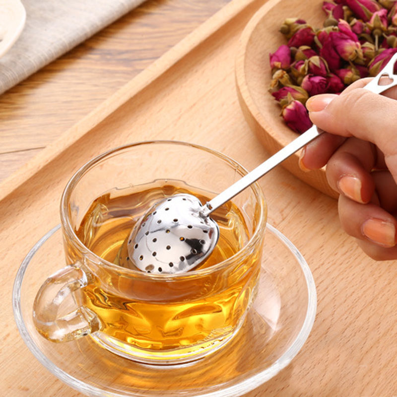 Fashion 1PC Stainless Steel Practical Heart Shape Tea Infuser Spoon Strainer Steeper Handle Shower Table Tool