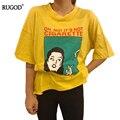 Primavera verão nova moda t-shirt tops de algodão de manga curta tops para as mulheres clothing engraçado o-neck t-shirt charater