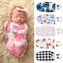 Милое одеяло для пеленания с цветочным принтом, с рисунком, с защитой от ударов, пеленка для сна+ повязка на голову, 0-2 м, комплект для новорожденных, спальный мешок для новорожденных