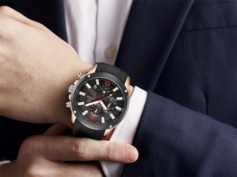 DIESSOL Men's Fashion Sports Quartz Watch Mens Watches Top Brand Luxury Rubber Band Waterproof Business Watch Relogio Masculino 23
