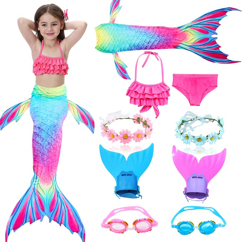 Kids Mermaid Swimsuit Bikini Girls Mermaid Tail With Finned Swimsuit Child's Wear Split Swimsuit Mermaid Tail Clothing Swimwear