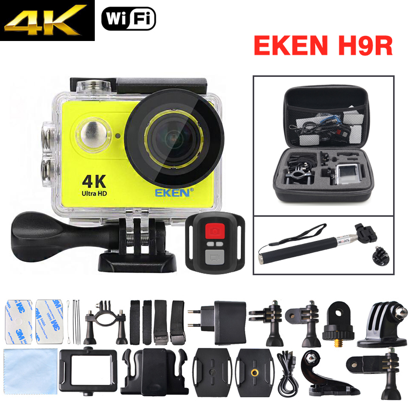 EKEN H9R Ultra HD 4K Action Sport Camera Deportiva WiFi Waterproof Remote Controller Camcorder Kit - Bag + Monopod Include 1080p eken h9 ultra hd 4k wifi 2 0 inch action sport camera video camcorder