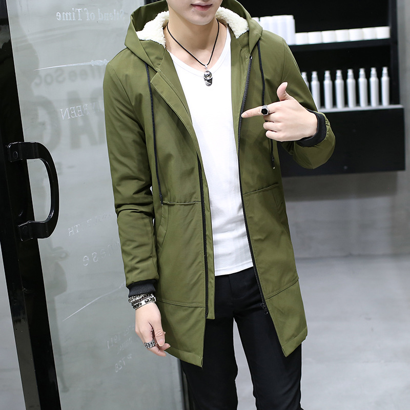 Now Winter Jacket men hooded Slim Korean   Parka   Hombre long Jacket coat cashmere mens windbreaker   Parkas   cotton youth clothing