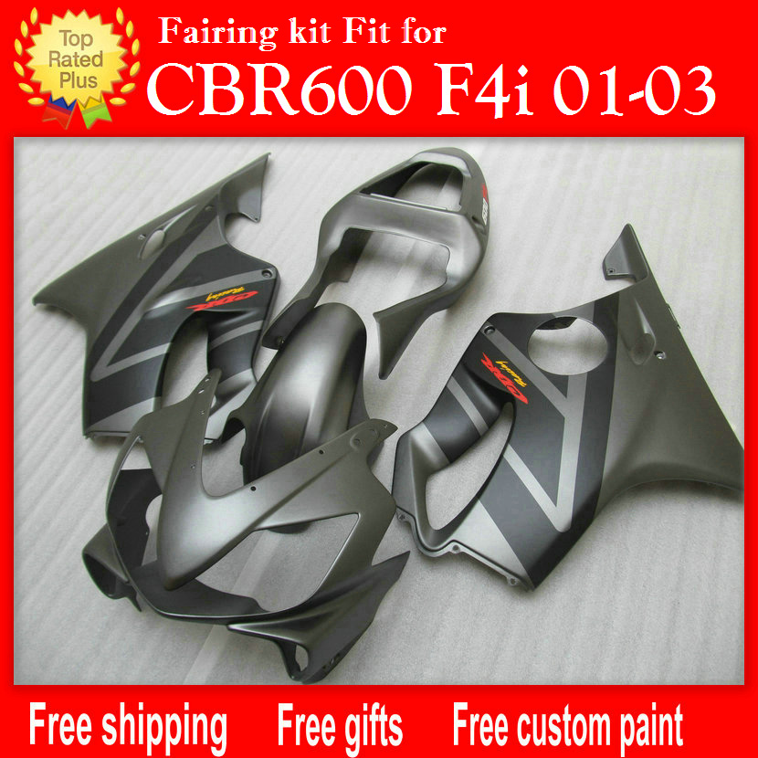 Injection molding fairings for HONDA CBR 600 F4i matte grey black fairing 01 02 03 CBR600 F4i 2001 2002 2003 free customize H52 gray moto fairing kit for honda cbr600rr cbr600 cbr 600 f4i 2001 2003 01 02 03 fairings custom made motorcycle injection molding