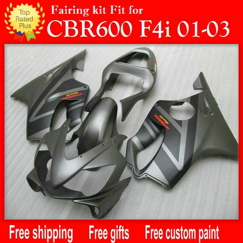 Moulage par injection carénages pour HONDA CBR 600 F4i mat gris noir carénage 01 02 03 CBR600 F4i 2001 2002 2003 livraison personnaliser H52