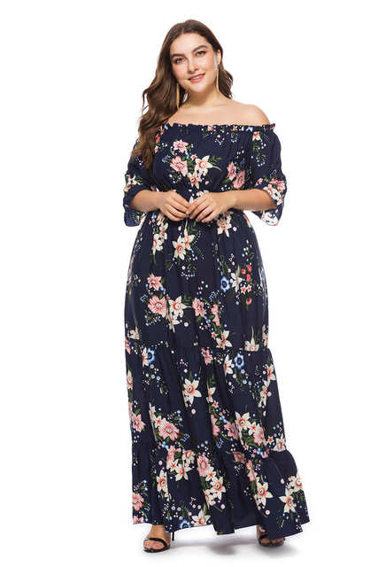 0309474b719e0 US $21.99 40% OFF|Maxdiroo Elegant Women Dress Chiffon Off Shoulder Dot  Black Dress Ladies Long Maxi Dress Plus Size Dress for Women 4xl 5xl 6xl-in  ...