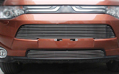 2* Front Center Grill Grid Grille Cover Trim For Mitsubishi Outlander 2013 2014