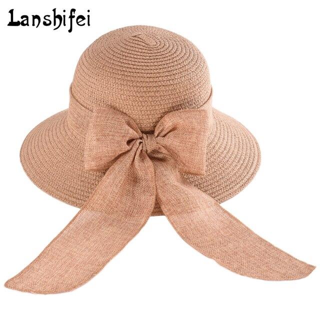 Lanshifei verano sombreros de paja para las mujeres Niñas viajar Sol  sombrero grande ala ancha Sombrero 7066012e3f2