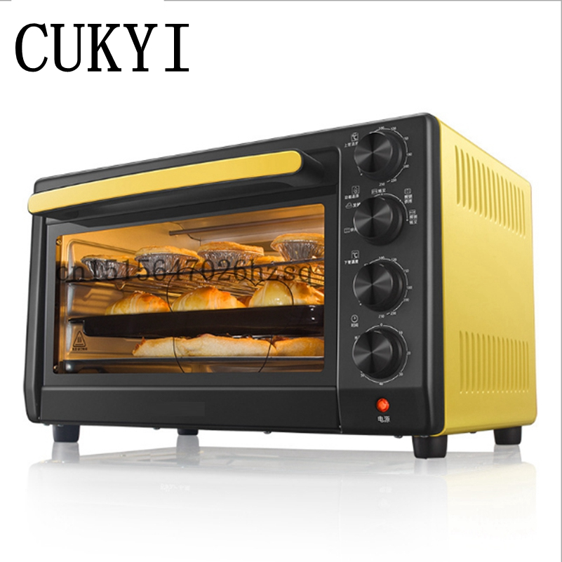 CUKYI Household electric Ovens 32L Big capacity 1600W Multi-functional Baking Oven, lemon yellow shipule multi function electric ovens for home bakingcakes52l capacity mini stainless steel baking oven with hot plates