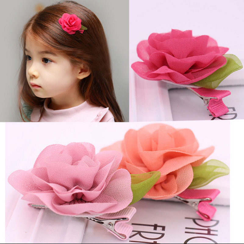 M MISM Fashion Chiffon Poppy Flower Kids Accessories Fine Colorful Hairpins Cute Bouquet Decorations Hairgrips Headwear For Girl m mism girl cute hairball hairpins lovely colorful hairgrips kids accessories new arrival hair clips headwear best gift to kids