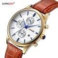 2016 vendas por atacado relógio de quartzo longbo relógios reloj de couro ocasional masculino feminino relógio com data do calendário à prova d' água 80061