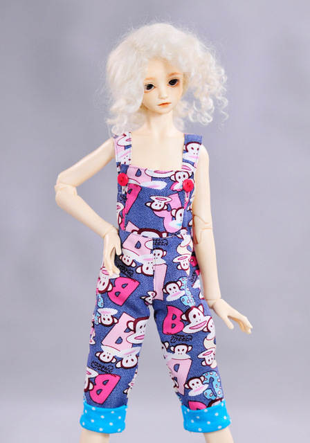 1pc Fashion 1/4 (45CM)18 inches SD/BJD Girl Doll Clothes Fashion Mouth Monkey Graffiti Neutral Overalls For BJD Doll