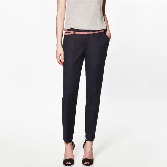 FinalFit Pencil Casual Pants Women, Spring Summer&Autumn Trousers With Belt
