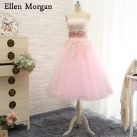 Pink Short Ball Gown Wedding Dresses 2018 Real Photos Elegant Custom Made Lace up Summer Garden Spring Tea Length Bridal Gowns