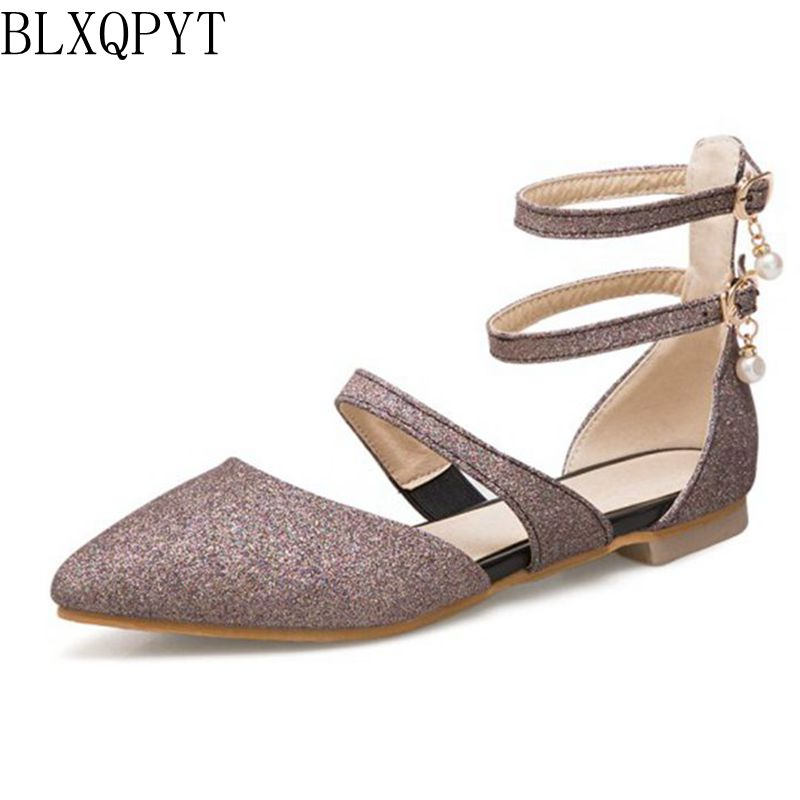 BLXQPYT Sale Small and Big Size 31-50 Sandals Summer Women For Ballet Shoes Flats Pointed Toe Spring Autumn shoes woman T751 drfargo spring summer ladies shoes ballet flats women flat shoes woman ballerinas pointed toe sapato womens waved edge loafer