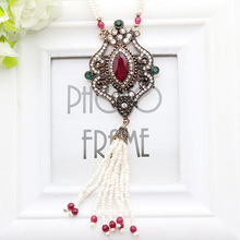 Fashion Luxurious Beaded Tassel Vintage Turkish Women Necklace Flower Hollow Out Jewelry Anniversary Party Jewelry Festival Gift