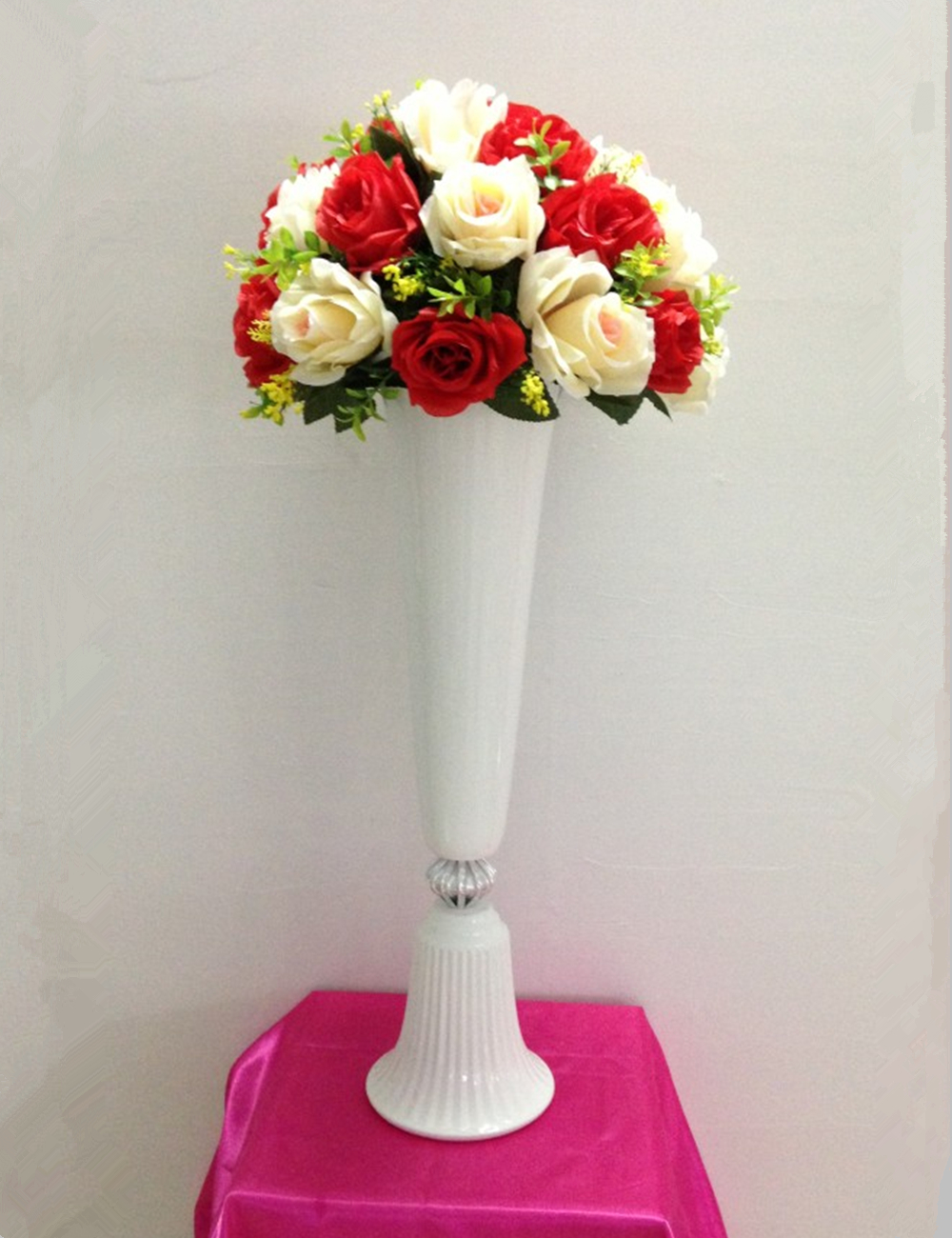 57cm height white metal candle holder candle stand wedding ...