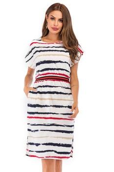 Summer Autumn Striped Dress Women Short Sleeve Sexy Casual Dress O-neck Stripe Women Pocket Elegant Dresses Plus Size 1