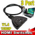 2017 NUEVA HDMI Switch HUB Divisor 3 Puerto 1080 P 3D HDMI Switcher Hub con cable adaptador para pc tv caja de cable hdtv dvd ps3 xbox 360