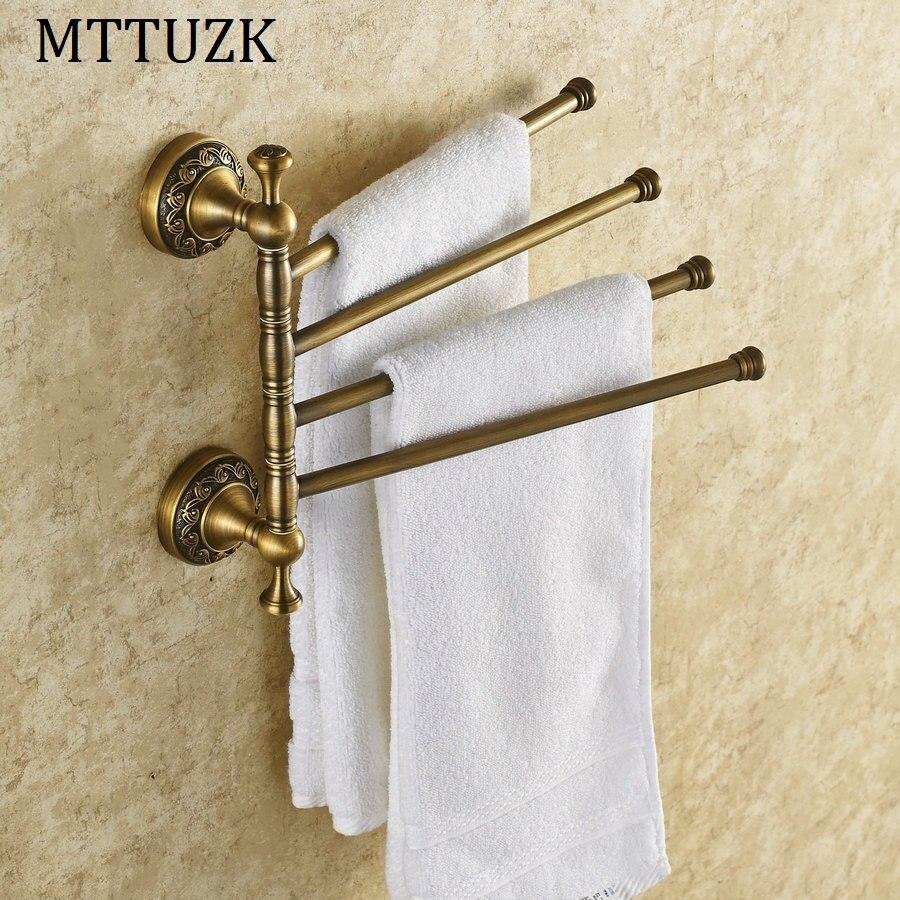 MTTUZK laiton massif Style Vintage salle de bain Revolve porte-serviettes Antique en laiton quatre niveaux rotatif porte-serviettes bain porte-serviettes