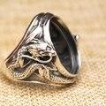 925 dragón de Plata 16x21mm Oval Cabochon Semi Montaje Antiguo Anillo de Los Hombres Sz 7-11