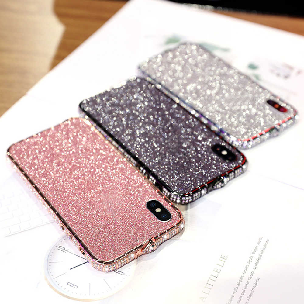 Anti-fall Female Model Diamond Frame Iphone Rhinestone Shell Glitter Mobile Phone Case for IPhone 6/6s/6p/6sp/7/7p/8/8p