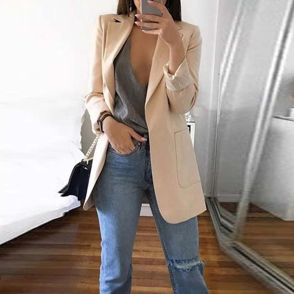 New Arrival Women Casual Mid Coat Lapel Slim Cardigan Outdoor office Work Suit Basic Jackets Spring Autumn Ladies Outwear Coat 2