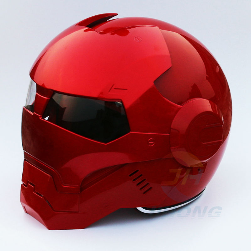 2016 NUOVO Full Rosso Brillante MASEI moto casco IRONMAN Iron Man casco mezzo casco aperto del fronte del casco motocross 610