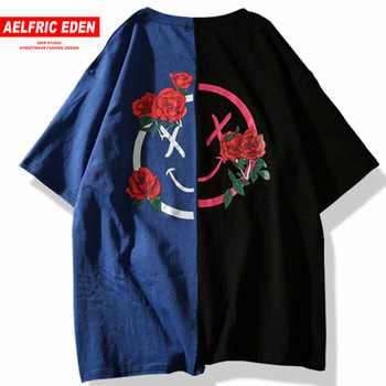 Flower Printed T Shirts Hit Color Patchwork 2018 Summer Short Sleeve Lover Fashion Hip Hop Tshirts