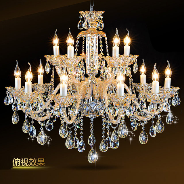 15 Arms Big Foyer Champagne Gold Chandelier Crystal Chandeliers E14 White Candle Holder Lamp Antique Living Room Hotel Lamparas