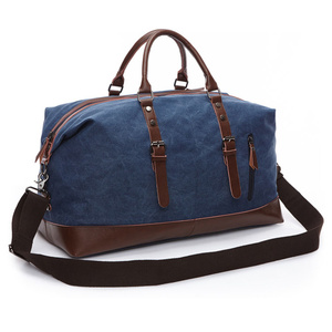 Image 2 - Scione Canvas Leather Men Travel Bags Carry on Luggage Bag Men Duffel Bags Travel Tote Large Weekend Bag Overnight Male Handbag