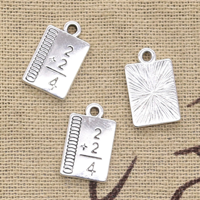 8pcs Charms study math book 17x10mm Antique Silver Plated Pendants Making DIY Handmade Tibetan Silver Finding Jewelry 1